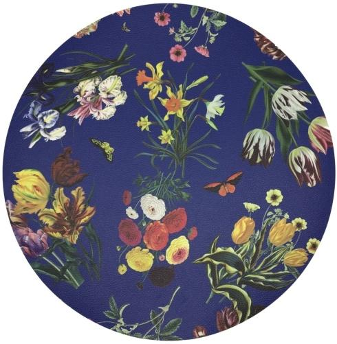 "$24.00 Placemat - Flora Fauna Blue Pebble Round 16"""