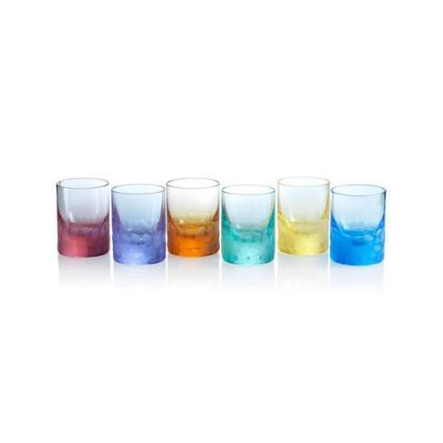 $395.00 Pebbles Shot Glass Multicolor Set of 6