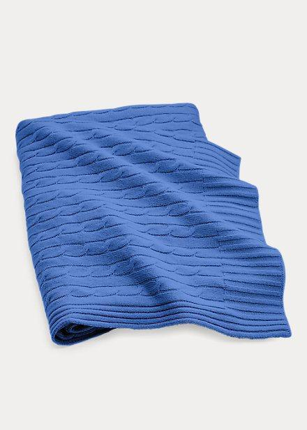 $595.00 Cable Cashmere Throw Blanket French Blue