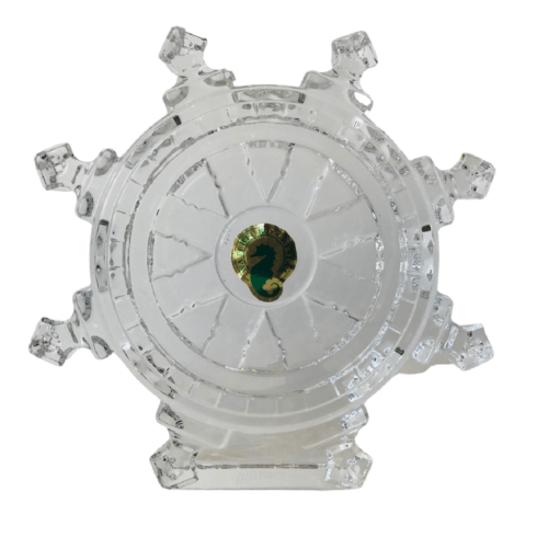 $97.50 Ship's Wheel Crystal Paperweight (1 in-stock)