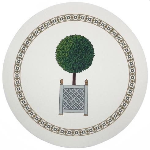 """$24.00 Placemat - Timothy Corrigan Parterre Topiary Pebble Round 16"""""""
