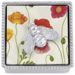 Mariposa  Napkin Boxes, Holders, & Weights  Beaded Box with BumbleBee Weight $48.00