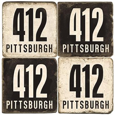 $48.00 Pittsburgh - Area Code 412 - B&W - Set of Coasters