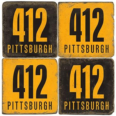 $48.00 Pittsburgh - Area Code 412 - Color - Set of Coasters