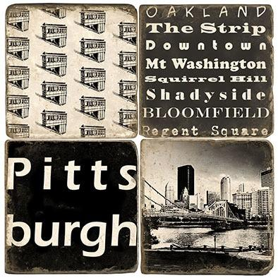 Pittsburgh - B&W - Set of Coasters collection with 1 products