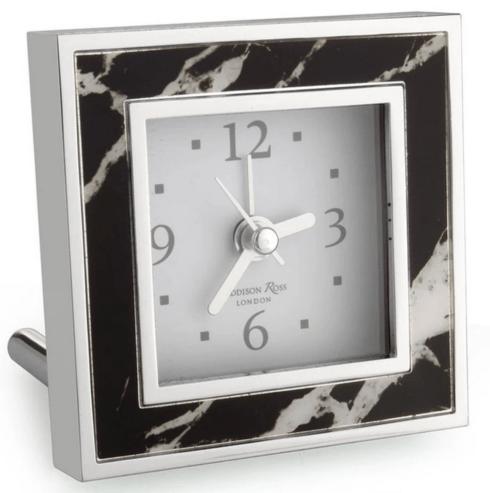 $68.00 Black Marble Square Alarm Clock