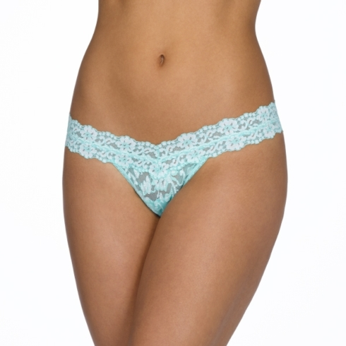 $23.00 Cross-Dyed Low Rise Thong - Seaglass-White