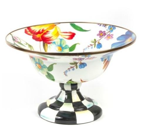 MacKenzie-Childs  Flower Market Enamelware (3 Colors) Flower Market Large Compote - White  $145.00