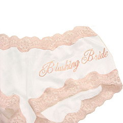 "$32.00 ""Blushing Bride"" Embroidered Silk Boyshort"