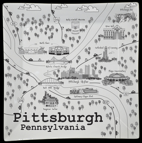 $50.00 Pittsburgh Black/White Map Square Plate - 10""