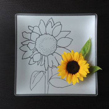 "$88.00 13"" Square Sunflower Plate"