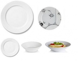 Royal Copenhagen Custom 5-piece Place Setting - White Fluted Plain with Black Fluted Mega Salad Plate