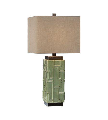 $235.00 Aklan 26 inch 150 watt Green Ceramic Table Lamp Portable Light