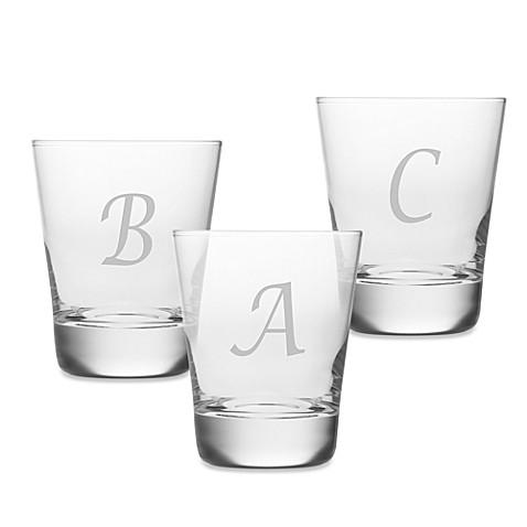 Susquehanna Glass   Susquehanna Glass Monogrammed Script Letter Double Old Fashioned - Set of 4 $59.99