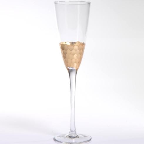 $16.95 Zodax Fez Cut Champagne Glassware with Gold Leaf