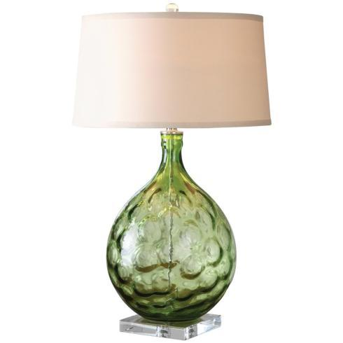 $329.00 Florian Glass Table Lamp, Green