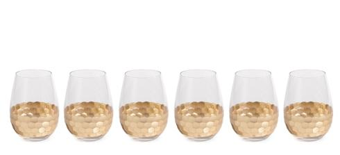 "$14.95 ""Vitorrio"" Wine Glass, Stemless Gold"
