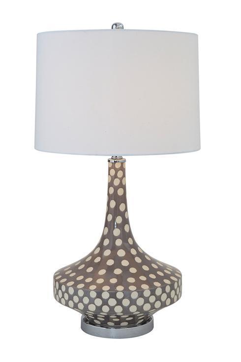 $175.00 Smudge Grey & White Ceramic Table Lamp