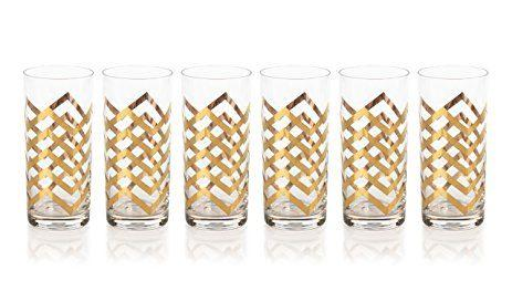 "$22.00 ""Seraphina"" Highball Glass, Golden Thick Chevron"