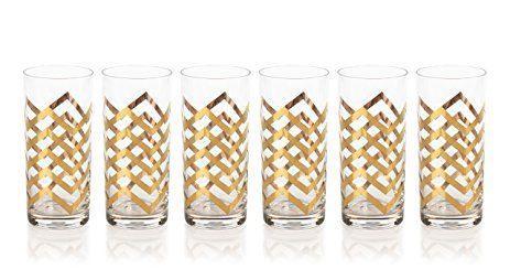 """$22.00 """"Seraphina"""" Highball Glass, Golden Thick Chevron"""