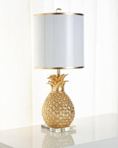 """$365.00 31"""" Golden Pineapple Table Lamp"""
