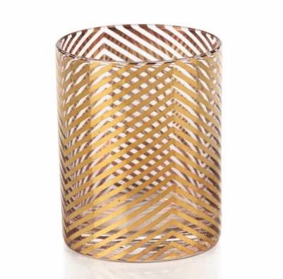$17.95 Seraphina Golden Skinny Chevron Double Old Fashioned Glasses