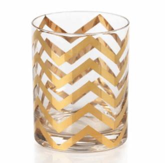 $17.95 Seraphina Golden Thick Chevron Double Old Fashioned Glasses