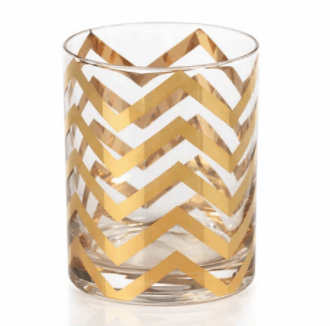 $17.95 Seraphina Golden Thick Chevron Double Old Fashioned Glasses