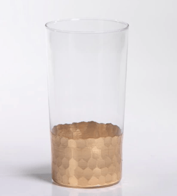 Zodax   Barclay Butera Montecito Fez Cut Highball Glasses with Gold Leaf $16.50