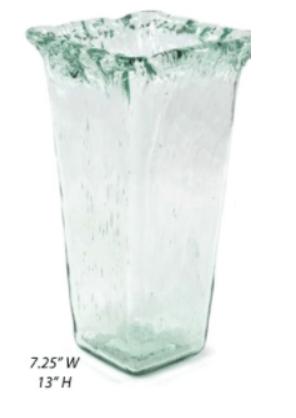 Recycled Glass Iceberg Large Square Vase