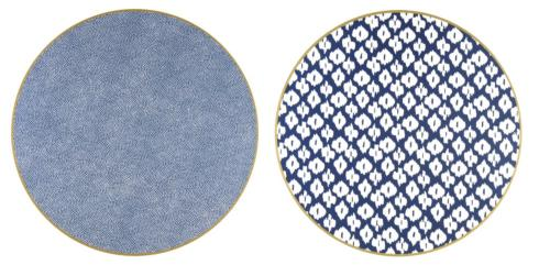 """Holly Stuart Design   Two Sided Ikat and Dot Fan 15"""" Round Hardwood Placemat $40.00"""