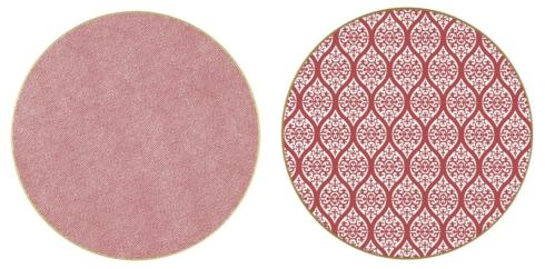 """$40.00 Two Sided Persia and Dot Fan 15 """" Round Hardwood Placemat"""