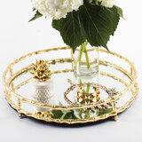 $94.00 Gold Bamboo Round Mirrored Tray