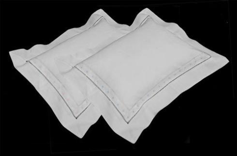 Home and Garden Exclusives   Swiss dot pillow, blue $25.00