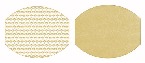 """$45.00 Two Sided Palm and Dot Fan 17"""" X 14"""" Ellipse Hardwood Placemat"""