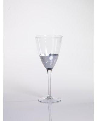 Zodax Vitorrio Stemmed Wine Glass with Silver Leaf