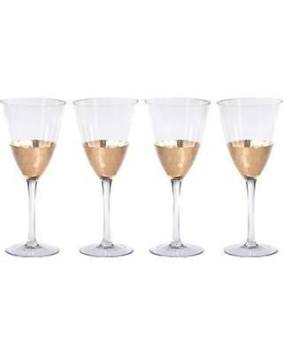 $19.95 Zodax Vitorrio Stemmed Wine Glass with Gold Leaf