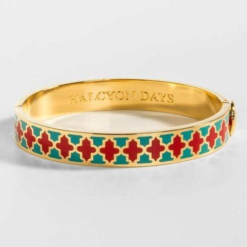$200.00 Agama Turquoise and Red Hinged bangle