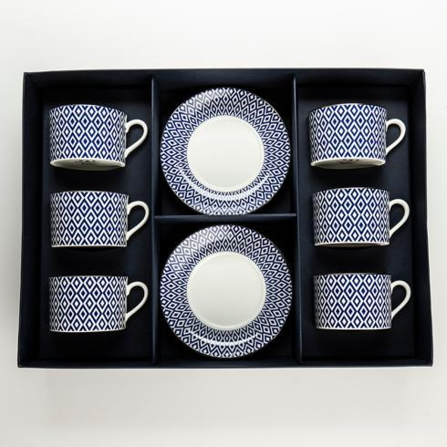 $510.00 Midnight Tea Cup & Saucer Boxes Set of 6