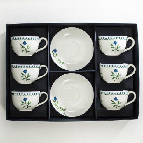 $595.00 Marguerite Tea Cup & Saucer Set of 6