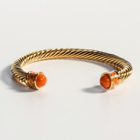 $165.00 Orange & Gold Torque Bangle