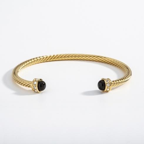 Black & Gold Torque Bangle image