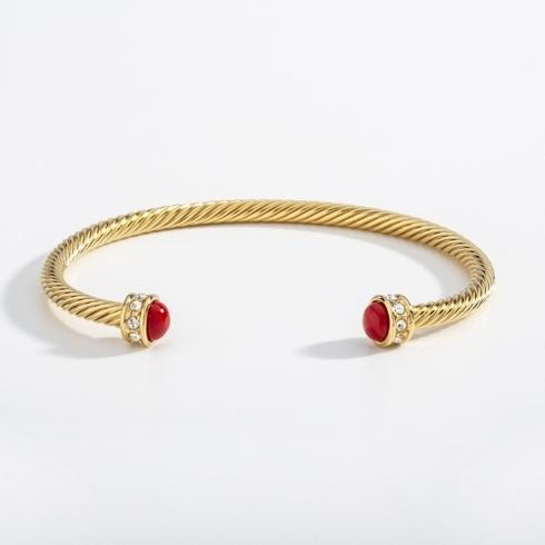 Red & Gold Torque Bangle image