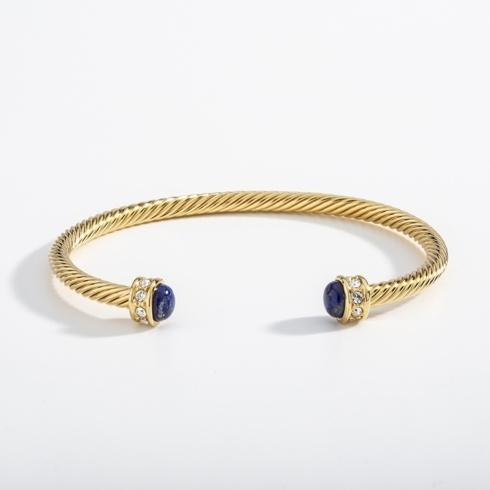 Cobalt & Gold Torque Bangle