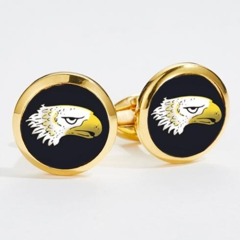 $120.00 Eagle Head Round Gold Cufflinks