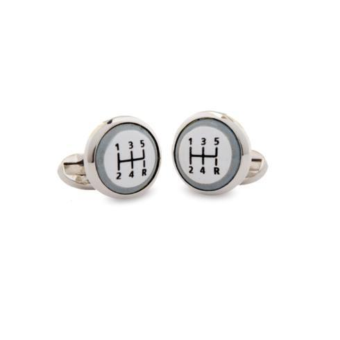 $120.00 Gear Stick Round Palladium Cufflinks