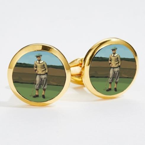 $120.00 1920\'s Golfer Round Gold Cufflinks