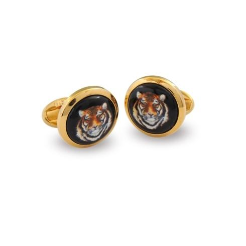 $120.00 Head Round Gold Cufflinks