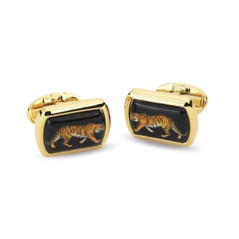 $120.00 Rectangular Black & Gold Cufflinks