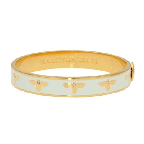 $200.00 Cream & Gold Hinged Bangle